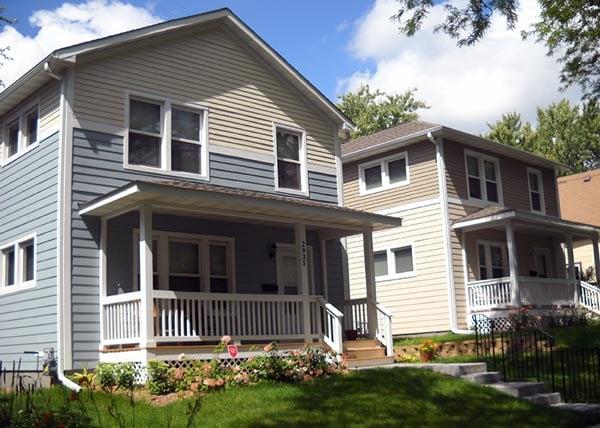 Two neighboring Habitat homes in Minneapolis
