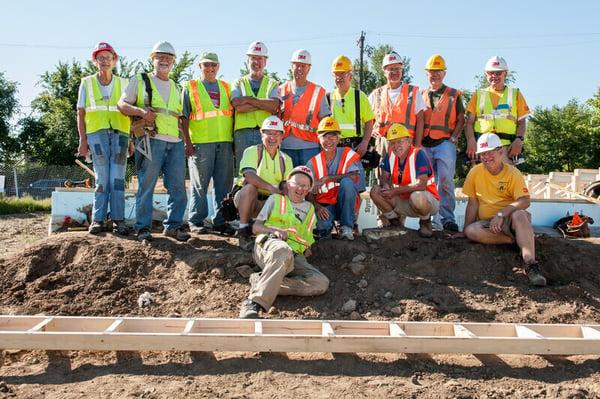 Volunteers on a build site.