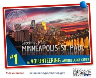 Twin Cities number one for volunteering.