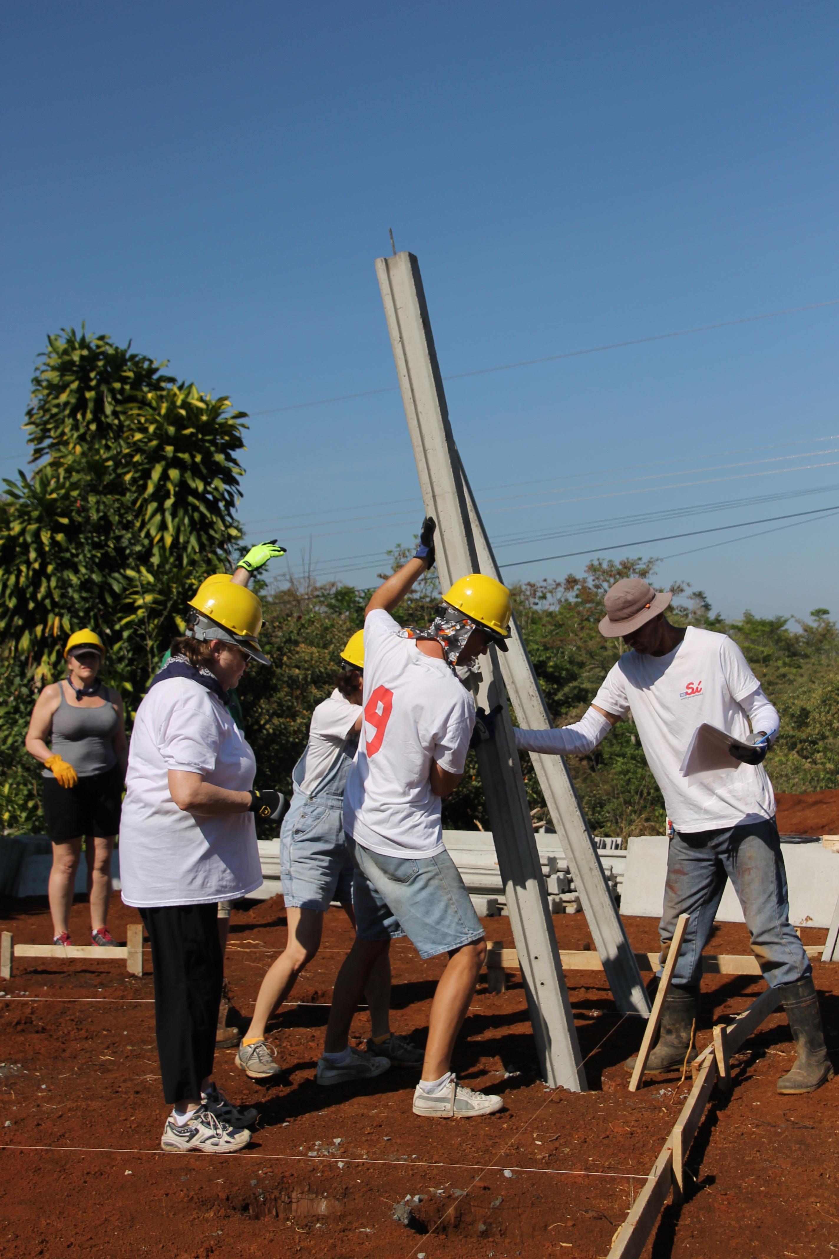Working hard on a Costa Rica Global Village trip.