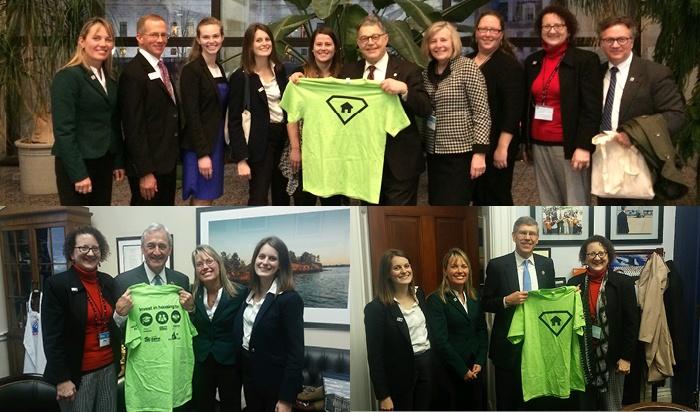 Staff from Twin Cities Habitat pose for pictures with Senator Franken, Representative Nolan, and Representative Paulsen.
