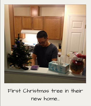 First Christmas tree in their new home...