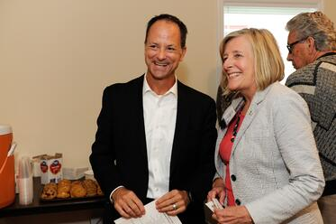 Sue Haigh with Sunrise Banks' CEO David Reiling