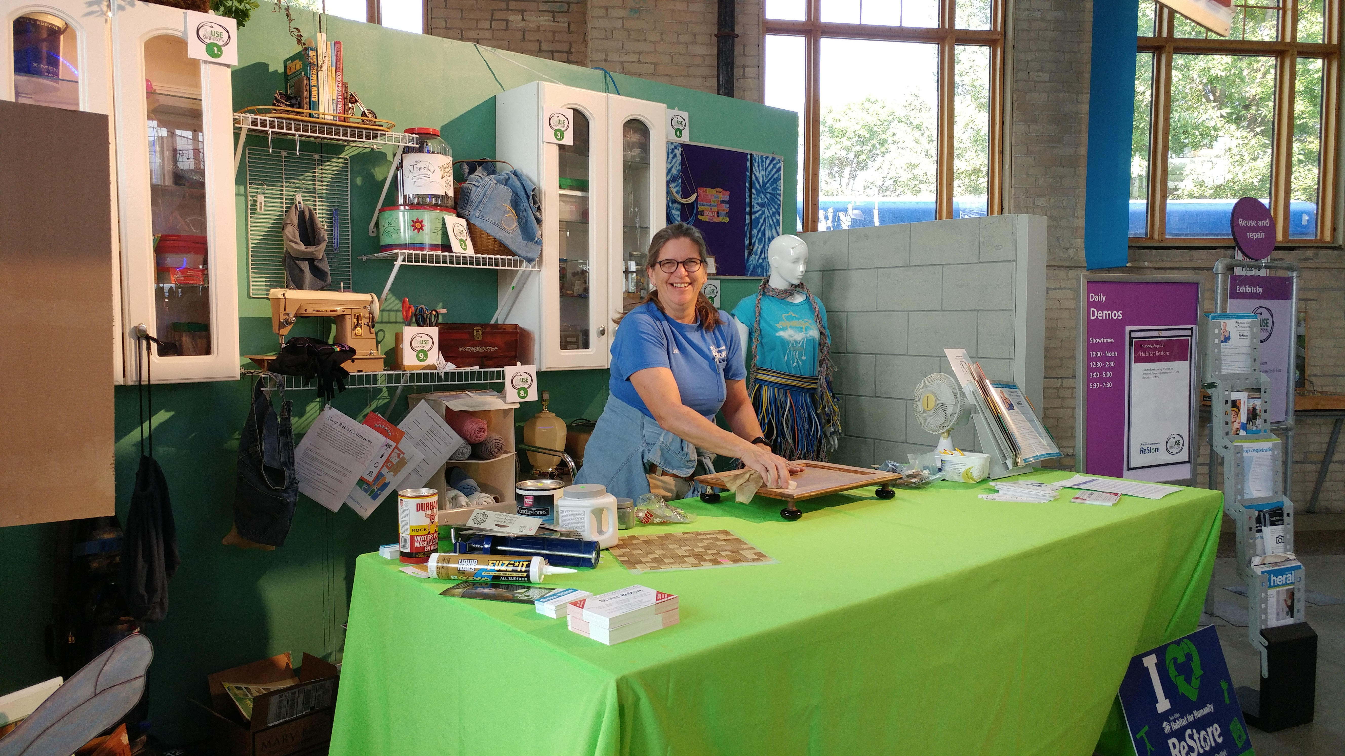 Jan at the Eco Experience Exhibit