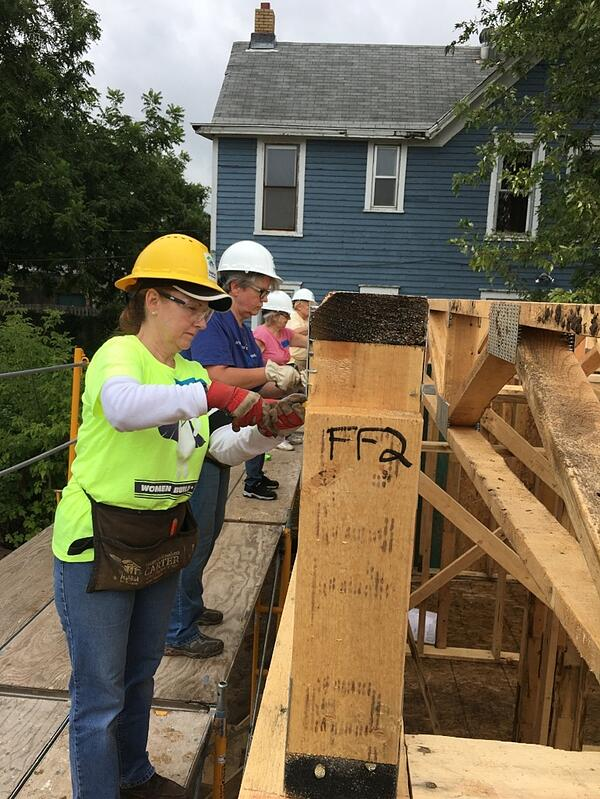 Women from First Presbyterian Church of Stillwater working on the second floor