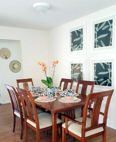 Furnished dining room for Habitat Open House