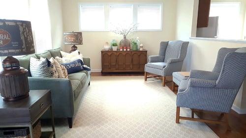 Furnished living room for Habitat Open House