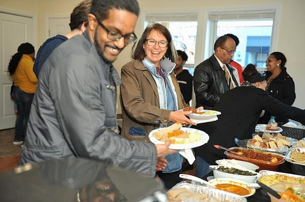The food table at Adanech's home dedication
