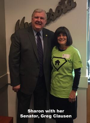 Sharon with Senator Clausen