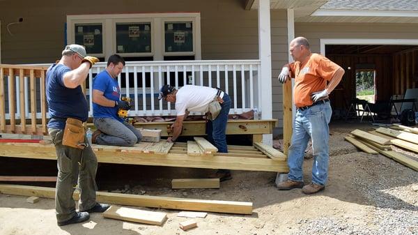 Volunteers working on the ramp