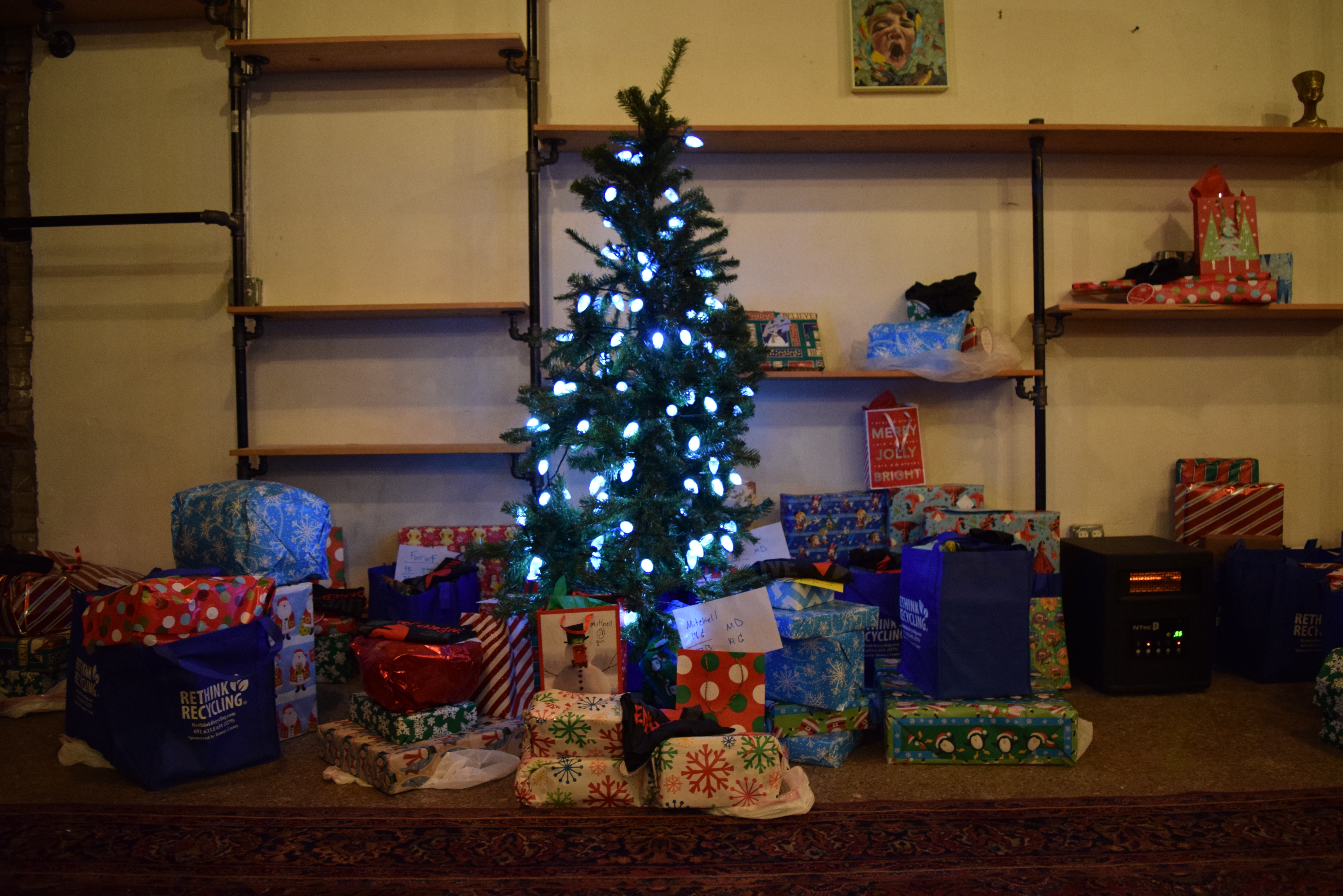 Tree and gifts at the event for Khan residents.