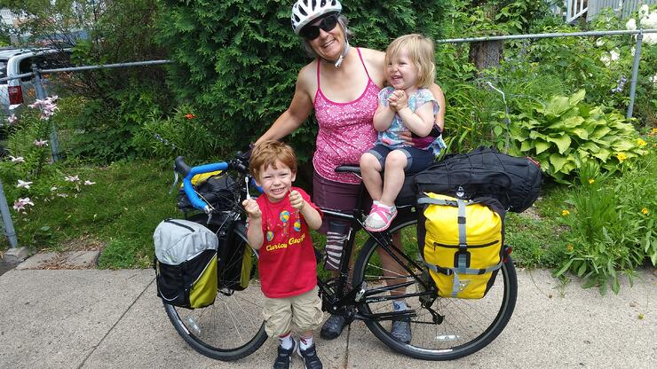 Kaia with her grandkids geared up for the Habitat 500 bike ride