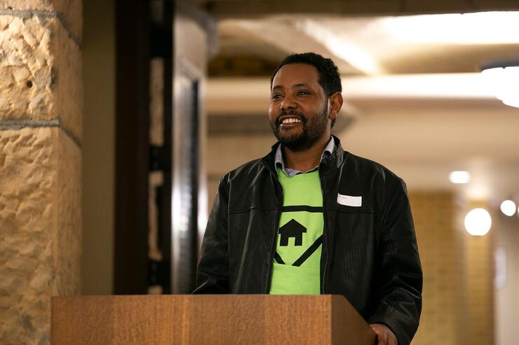 Hunde speaking at Habitat on the Hill - MN 2018.
