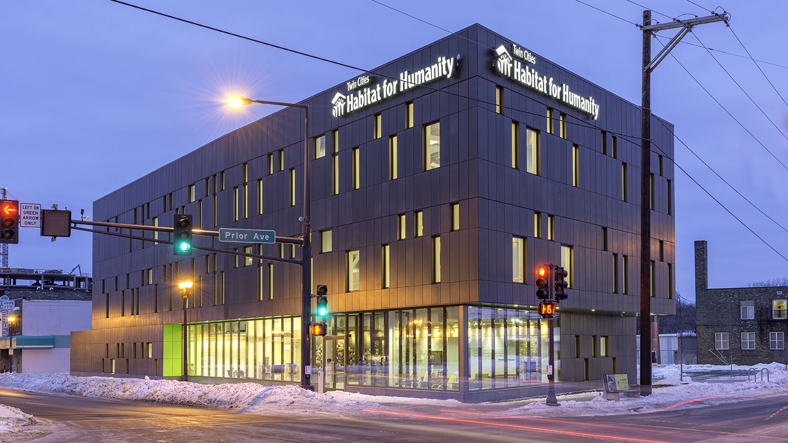Twin Cities Habitat for Humanity office building at night