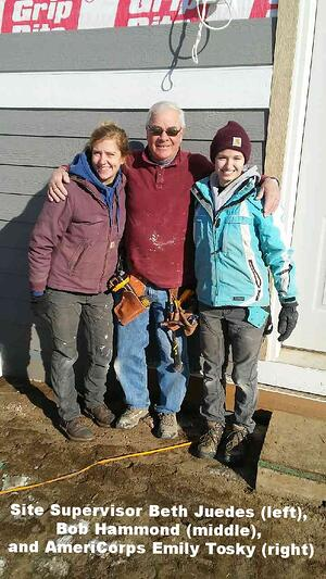 Site supervisor Beth Juedes, Bob Hammond, and AmeriCorps Emily Tosky