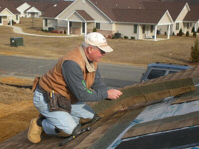 Bob working on the roof