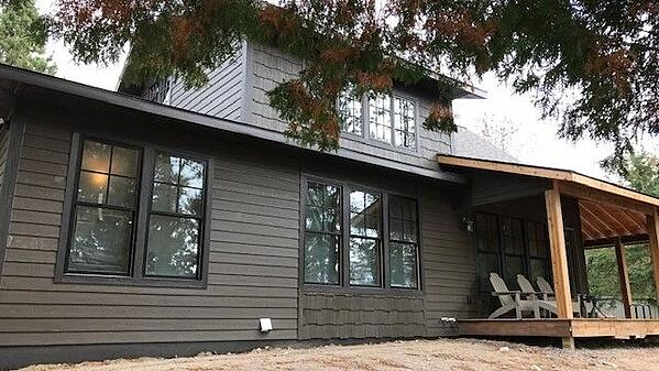 Gayle's family cabin, complete with new windows from ReStore.