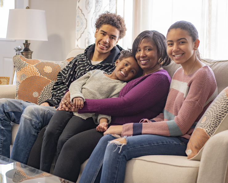 LaShonda's family in their living room