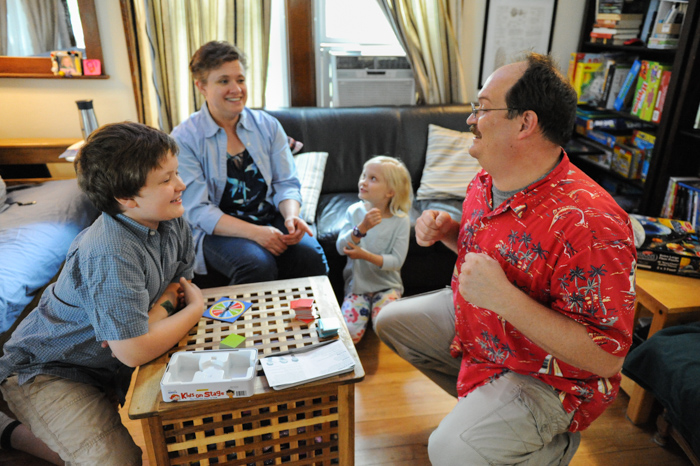 Beth's family playing a game