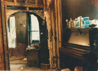 Piano in the gutted out living room