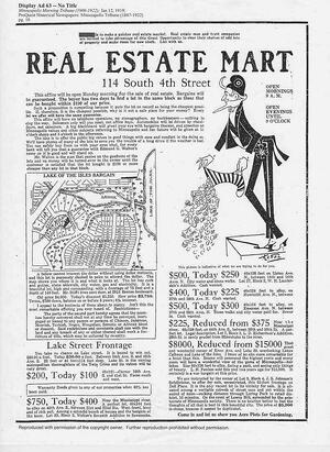 A Real Estate Mart page from the year 1919, including racial covenants in real estate listings.
