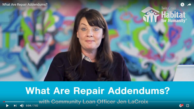 "Jen LaCroix speaking against a colorful background. A blue banner at the bottom has white text that says ""What Are Repair Addendums? with Community Loan Officer Jen LaCroix."""