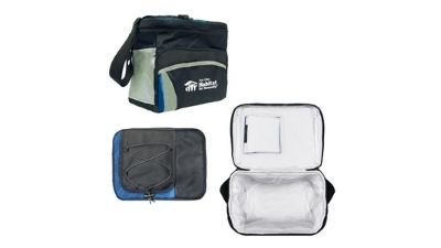 A black, gray and blue Twin Cities Habitat insulated lunchbox.
