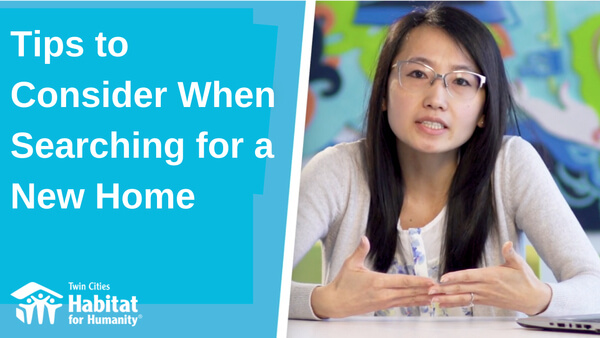 "A split image - a blue background on the left with the white text ""Tips to Consider when Searching for a New Home"" with the TC Habitat logo at the bottom, and Homeowner Development Manager Pa Lor on the right, gesturing, in front of a colorful background."