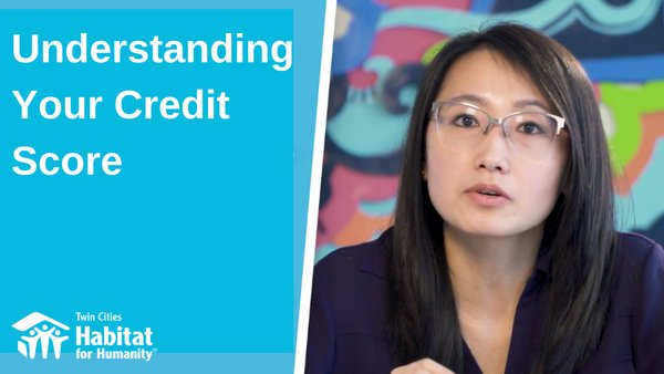 "A split image - a blue background on the left with the white text ""Understanding Your Credit Score"" with the TC Habitat logo at the bottom, and Homeowner Development Manager Pa Lor on the right, gesturing, in front of a colorful background."