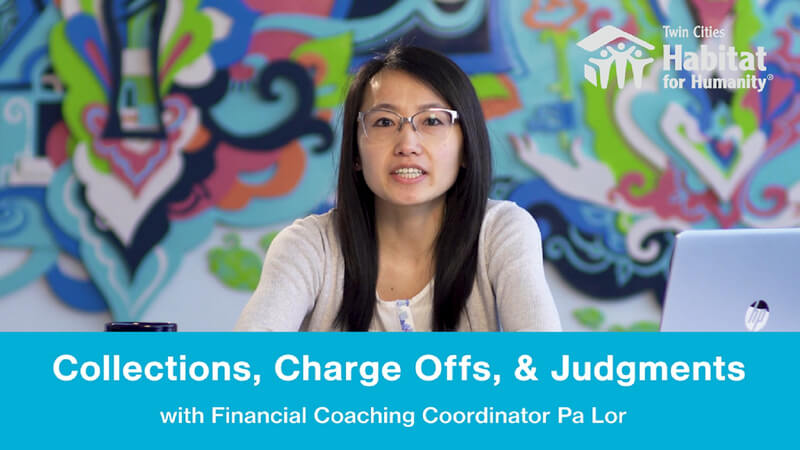 """Pa Lor speaking in front of a multicolored painted background, with the white TC Habitat logo at the top right. At the bottom is a blue banner with white text saying """"Collections, Charge Offs, & Judgments: with Financial Coaching Coordinator Pa Lor."""""""