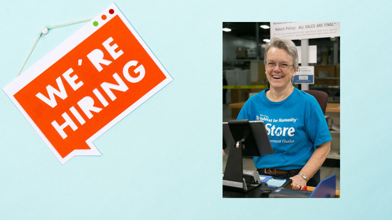 "An orange ""We're hiring"" sign against a light blue background. To the right is an image of a ReStore employee at the cash register."