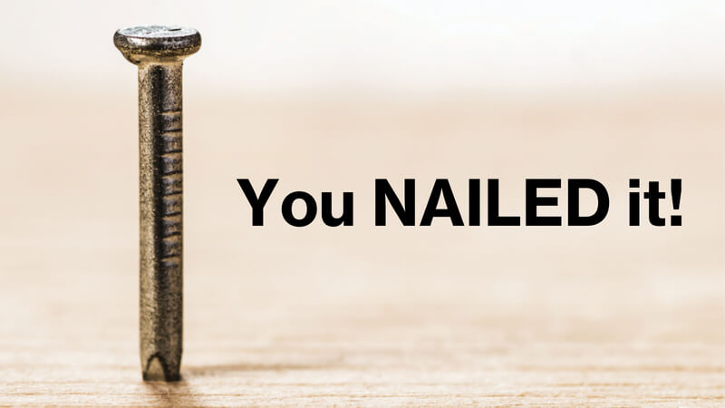 "An image of a nail standing up on a wood surface, and the words ""You NAILED it!"" in black text."