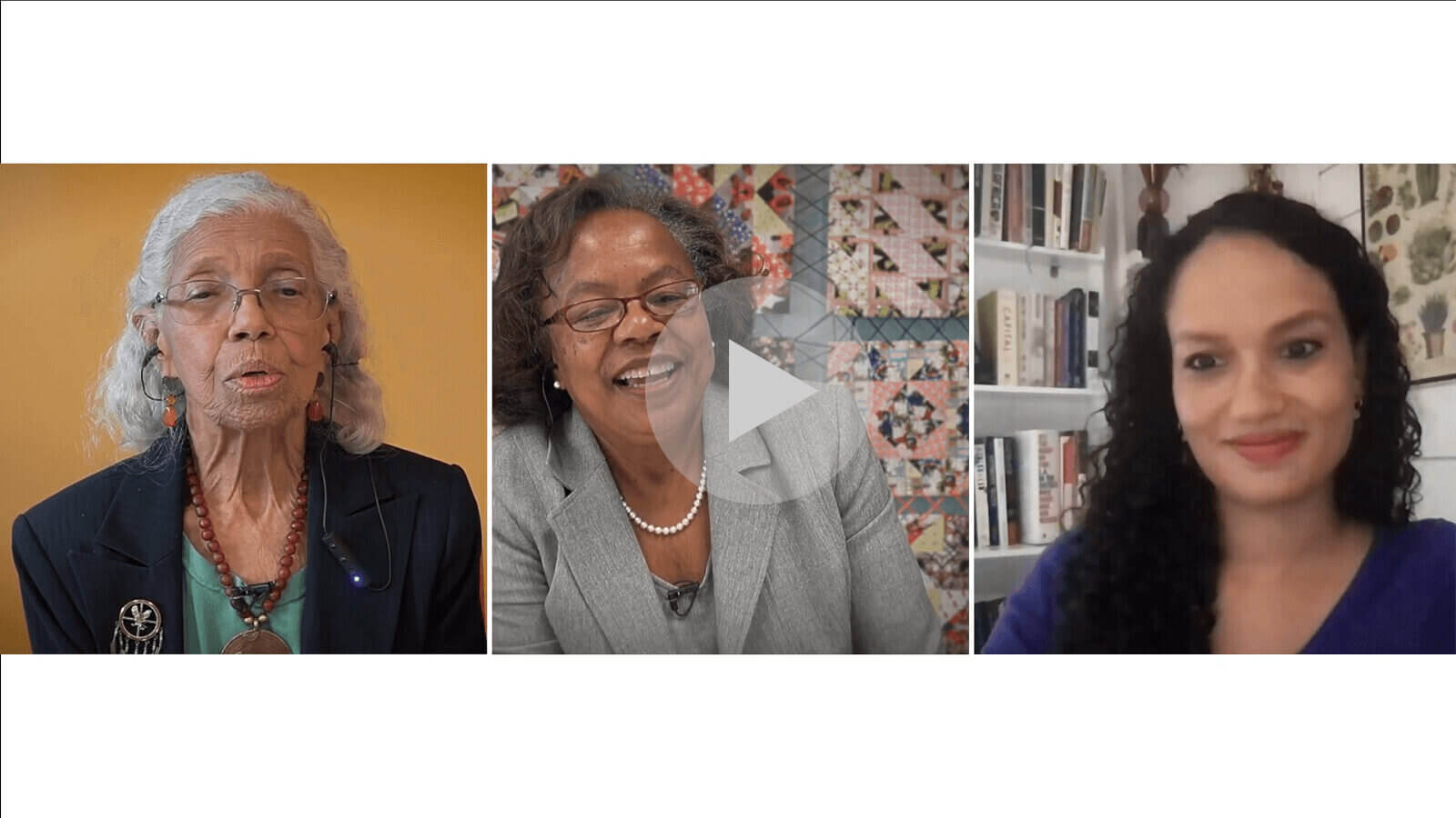 YouTube preview with three images. Left: Dr. Josie Johnson, speaking in a green shirt and black jacket. Middle: Sharon Sayles Belton in a gray patterned shirt and gray jacket. Right: Josie Duffy Rice in a purple shirt.