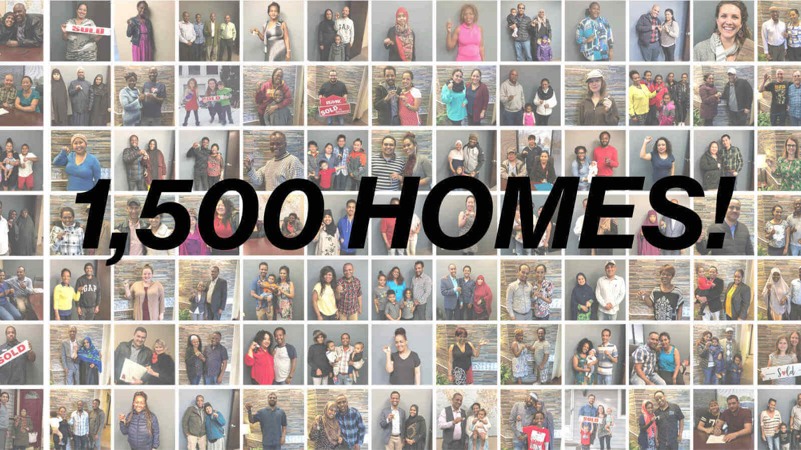 "A collage of at least 70 Habitat homeowners, with the text ""1,500 HOMES!"" in black italics."