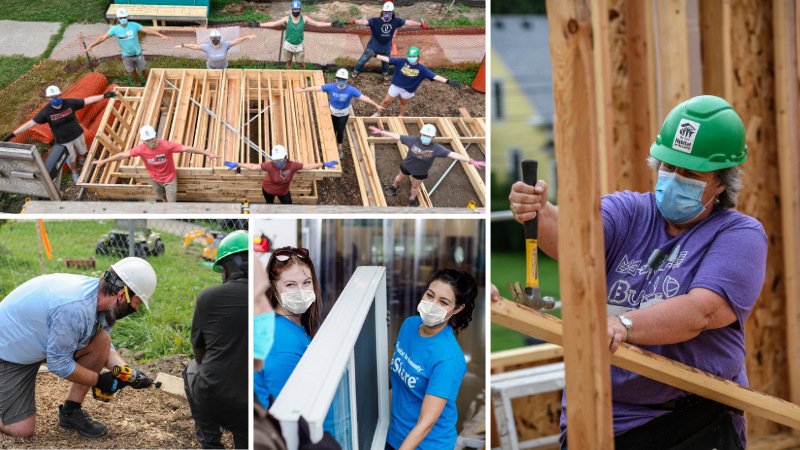 A collage image of many different volunteers at Twin Cities Habitat.