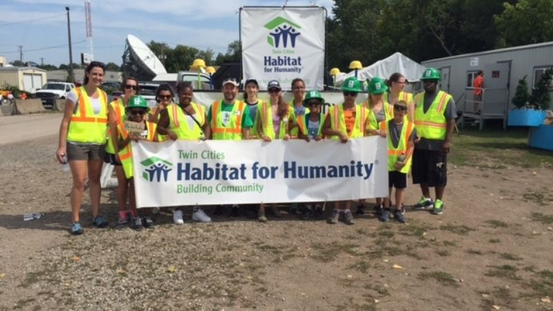 Youth Leaders at a build site.