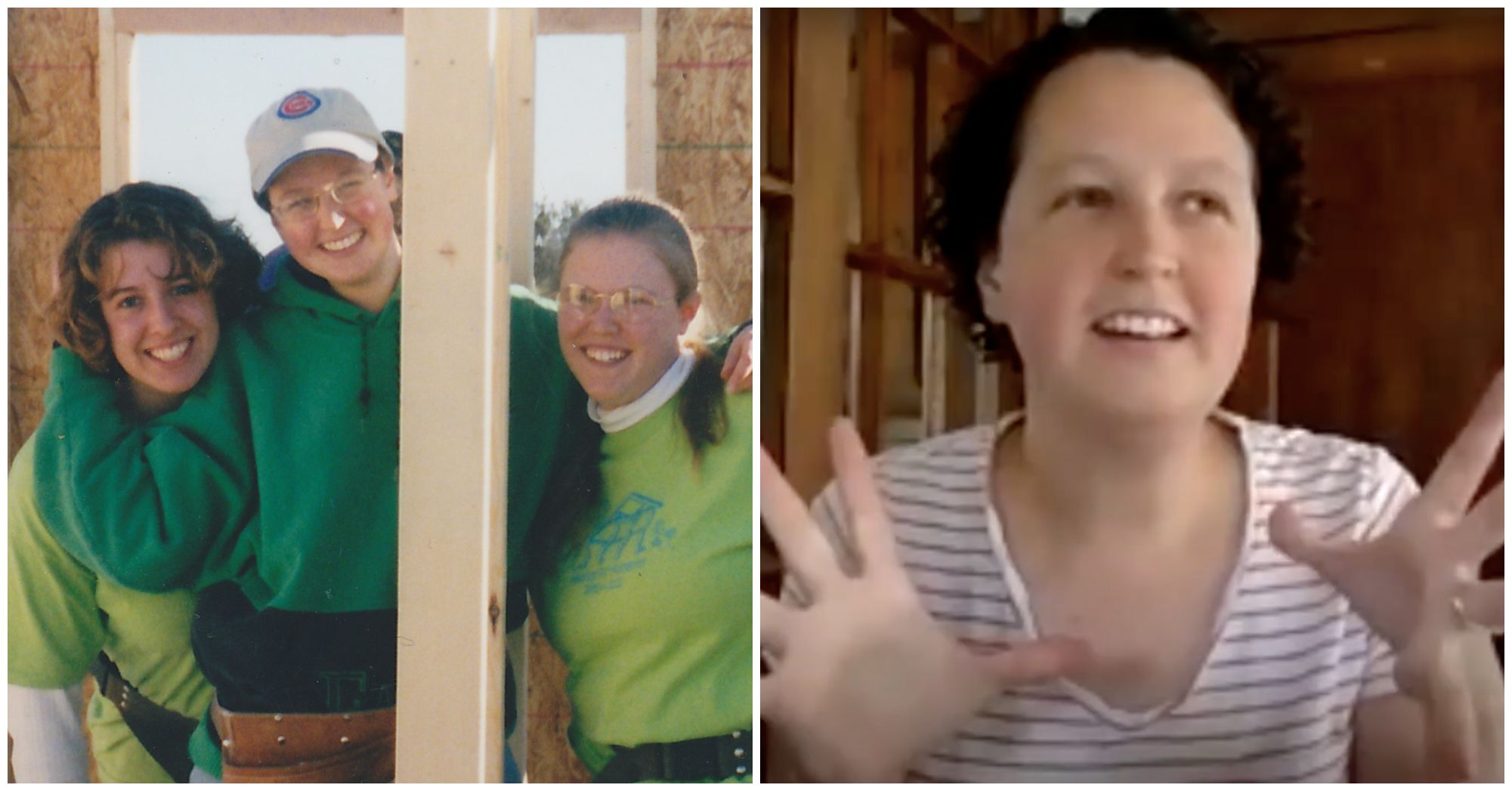 Twin Cities Habitat homebuilding volunteer Dawn Puroway on a homebuild site in 2002 and on a video interview in 2021