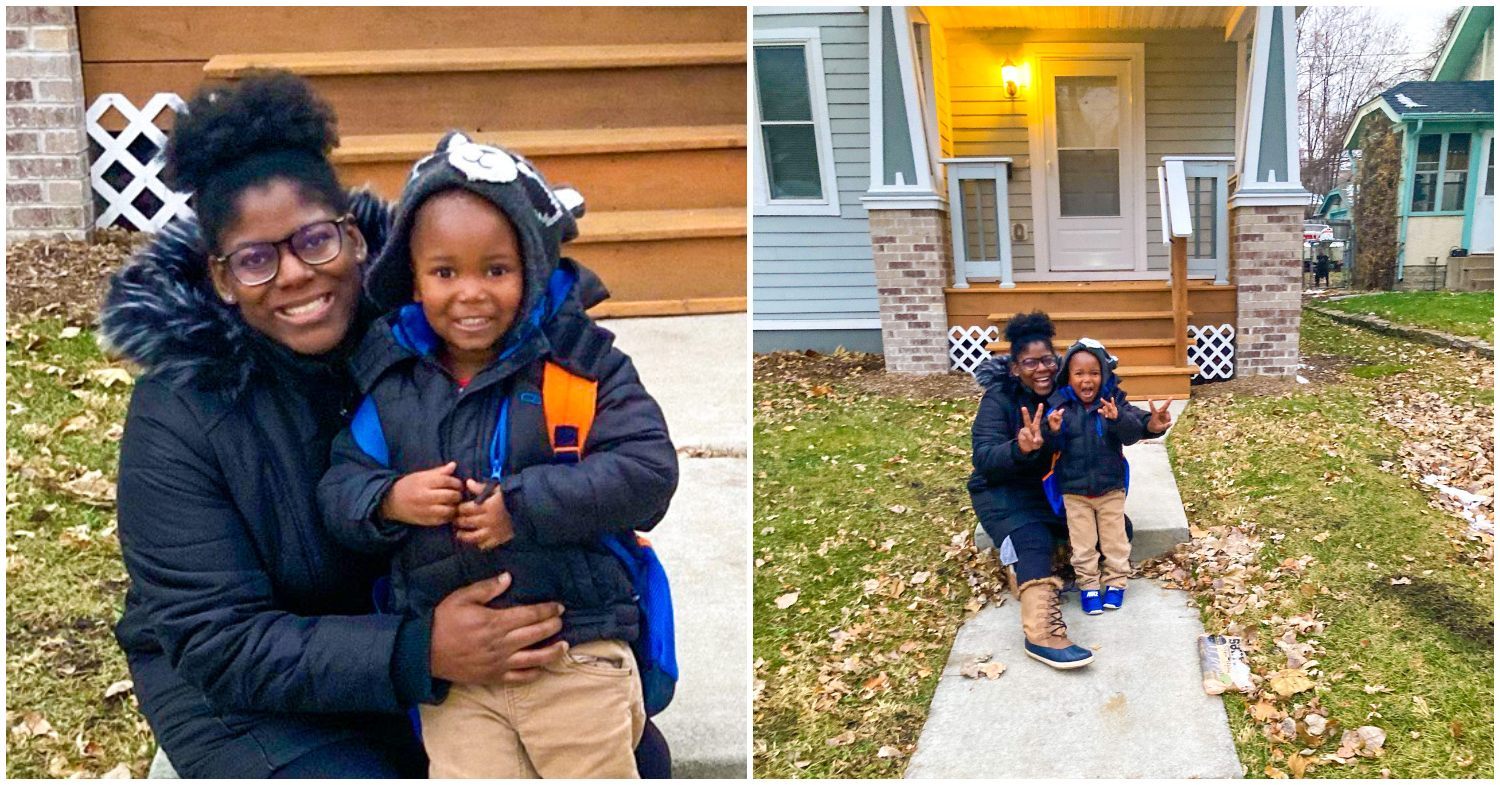 Habitat first-time homebuyer Julia at her North Minneapolis home with her son. Front steps, porch, family, people of color.