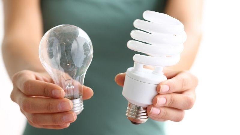An incandescent and an LED light bulb.