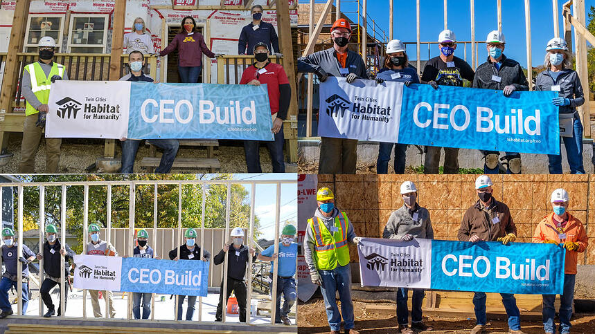 "4 different images, each showing multiple people in front of builds in various states of progress, each group holding a sign saying ""Twin Cities Habitat for Humanity"" in a white block on one side of the sign, and ""CEO Build"" in a light blue block on the right side of the sign."
