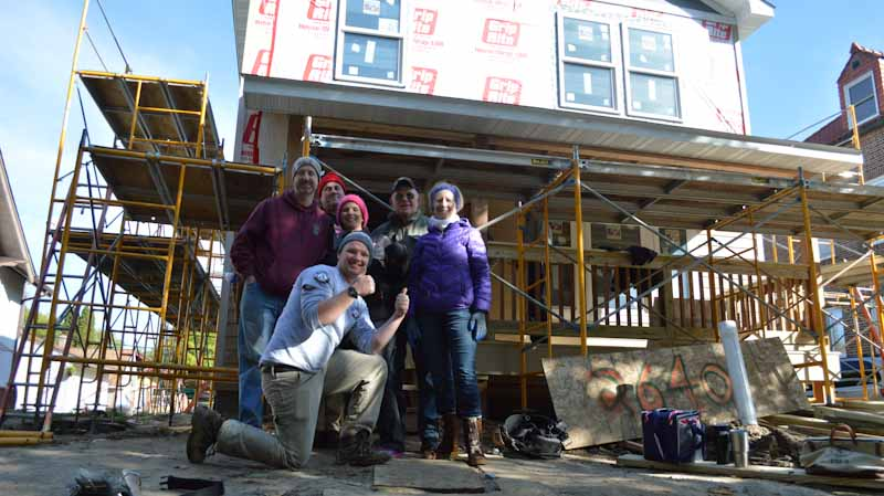 Habitat volunteers in front of a North Minneapolis home.