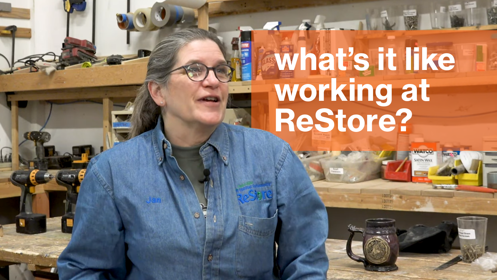 """A photo of Jan Hagerman with the text """"What's it like working at ReStore?"""""""