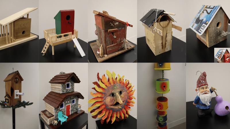 Six upcycled birdhouses.