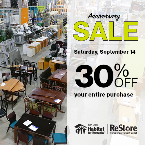 ReStore Anniversary Sale is happening on Sept 14!