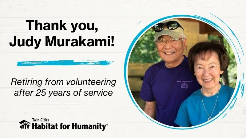 thank you judy murakami - retiring from volunteering after 25 years of service